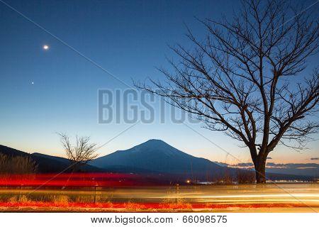 Fuji fujisan at dusk from yamanaka lake at Yamanashi Japan