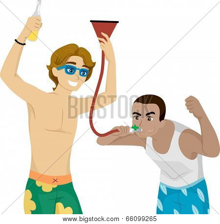 Illustration of Male Teens Fooling Around with a Beer Funnel