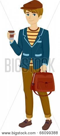 Illustration of a Male Parisian Teen Dressed for Travel
