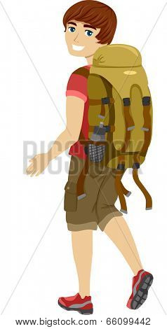 Illustration of a Male Teen Wearing Camping Gear