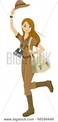Illustration of a Girl Wearing a Safari Outfit Getting Ready to Travel