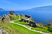 image of british culture  - Ruins of Urquhart Castle along Loch Ness - JPG