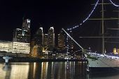 stock photo of calatrava  - Puerto Madero by night Buenos Aires Argentina - JPG