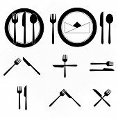 stock photo of table manners  - Plate icons with fork and knife sign stock vector - JPG