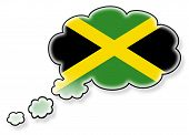 stock photo of jamaican flag  - Flag in the cloud isolated on white background flag of Jamaica - JPG