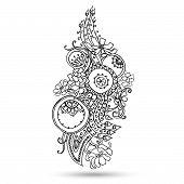 stock photo of mehndi  - Henna Paisley Mehndi Abstract Floral Vector Illustration Element - JPG