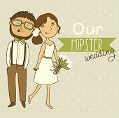 pic of amour  - Wedding invitation with a couple of hipsters - JPG