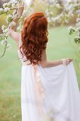 image of fairy tail  - Portrait of beautiful woman in white dress - JPG
