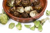 foto of artichoke hearts  - Grilled and fresh artichokes isolated on white  - JPG