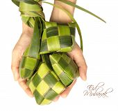 stock photo of hari raya aidilfitri  - Hand Held Muslim Ketupat  - JPG
