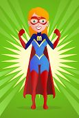 foto of superwoman  - illustration of a super mom pose on spread powerful background - JPG