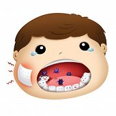 stock photo of pity  - pity boy crying have toothache illustration with tear - JPG