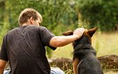 image of shepherds  - Photo of a beautiful friendship with a boy and a dog - JPG