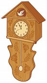 image of pendulum clock  - wooden cuckoo clock vector illustration on white background - JPG