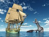 pic of dragon  - Computer generated 3D illustration with a 18th Century Corvette and a Water Dragon - JPG