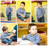 stock photo of montessori school  - Little child boy playing in kindergarten in Montessori preschool Class - JPG