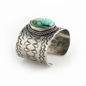 image of semi-circle  - Antique Native American Sterling Silver Cuff bracelet with large Turquoise Stone - JPG