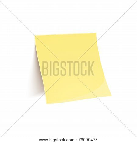 Vector yellow stick note isolated on white background