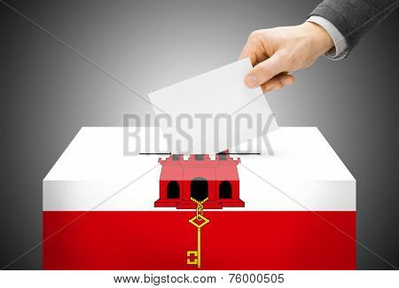 Voting Concept - Ballot Box Painted Into National Flag Colors - Gibraltar