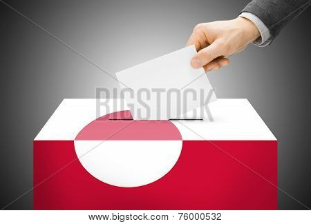 Voting Concept - Ballot Box Painted Into National Flag Colors - Greenland