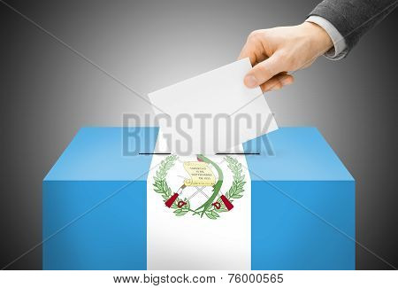 Voting Concept - Ballot Box Painted Into National Flag Colors - Guatemala