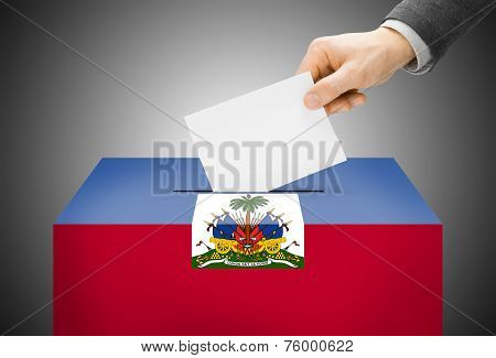 Voting Concept - Ballot Box Painted Into National Flag Colors - Haiti