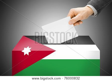 Voting Concept - Ballot Box Painted Into National Flag Colors - Jordan