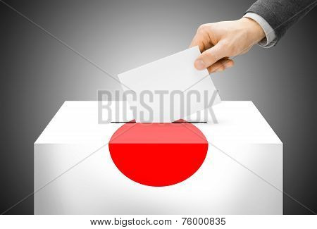 Voting Concept - Ballot Box Painted Into National Flag Colors - Japan