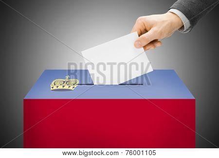 Voting Concept - Ballot Box Painted Into National Flag Colors - Liechtenstein