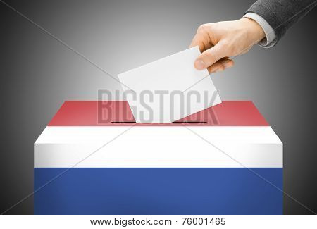 Voting Concept - Ballot Box Painted Into National Flag Colors - Netherlands