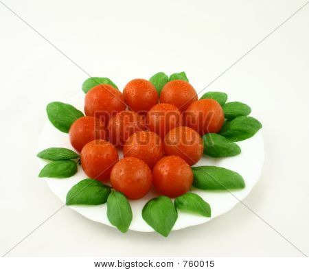 Small Fresh Tomatoes With Basil