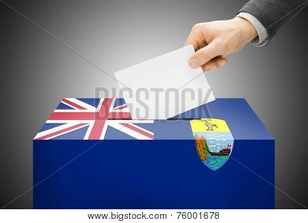 Voting Concept - Ballot Box Painted Into National Flag Colors - Saint Helena