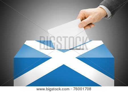 Voting Concept - Ballot Box Painted Into National Flag Colors - Scotland