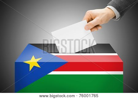 Voting Concept - Ballot Box Painted Into National Flag Colors - South Sudan