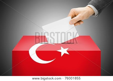 Voting Concept - Ballot Box Painted Into National Flag Colors - Turkey