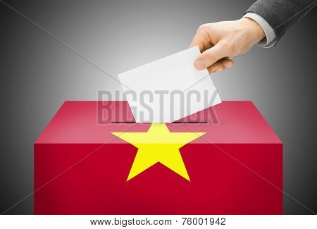 Voting Concept - Ballot Box Painted Into National Flag Colors - Vietnam