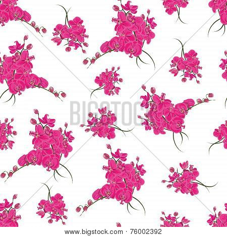 Magenta orchid rococo seamless pattern