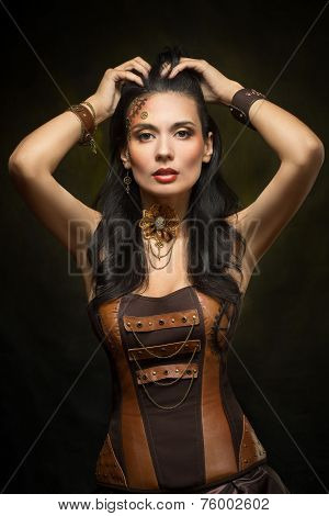 Portrait of a beautiful steampunk woman
