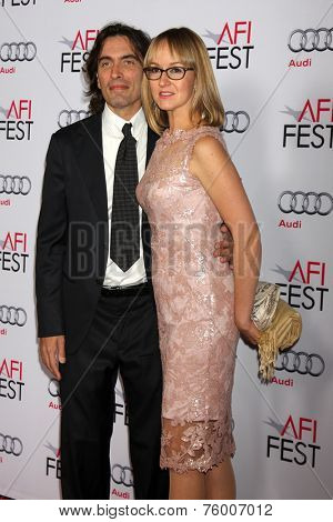 LOS ANGELES - NOV 12:  Carlo Ponti, Andrea Meszaros Ponti at the A Special Tribute to Sophia Loren at AFI Film Festival at the Dolby Theater on November 12, 2014 in Los Angeles, CA