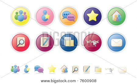 Social And Networking Icon Set - Bubble Series