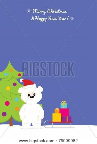 Sky blue Christmas background with baby polar bear caring presents.