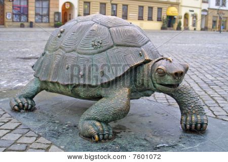 Bronze Turtle In Olomouc, Czech Republic