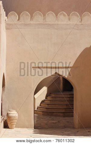 Nizwa Fort Castle. The Nizwa Fort Is A Massive Castle In Nizwa, Oman. It Is Oman's Most Visited Nati