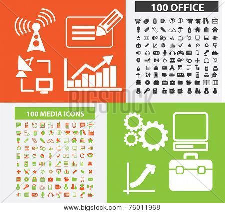 200 office, media, marketing, retail, computer icons, signs, illustrations set, vector