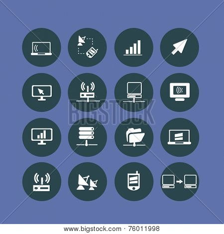 computer, server, network, link, connection icons, signs, illustrations set, vector
