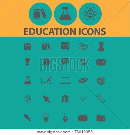 education, school, traning icons, signs, illustrations set, vector
