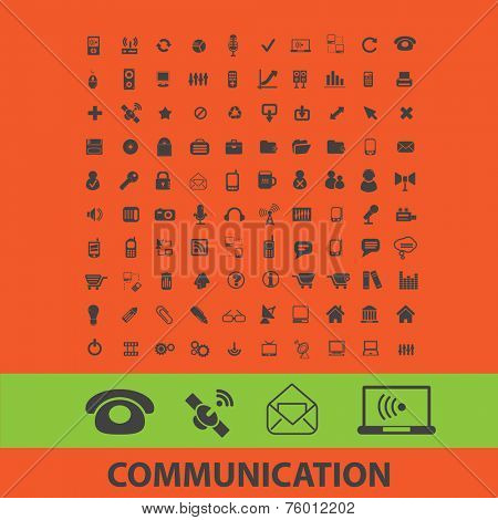 communication, computer, email, internet technology icons, signs, illustrations set, vector