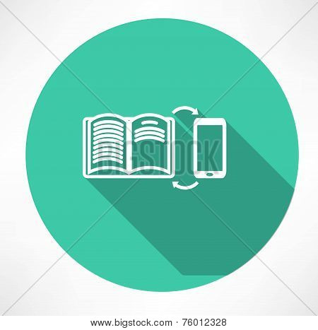 smartphone and book exchange icon