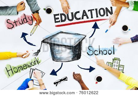 Hands on whiteboard with Education Concepts