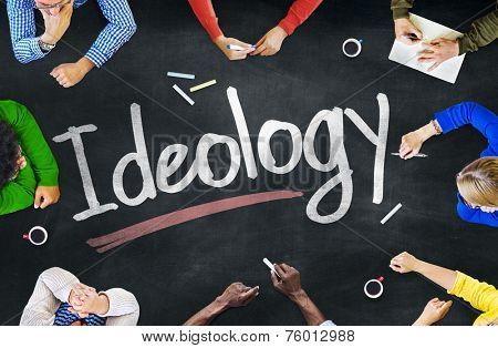 Multi-Ethnic Group of People and Ideology Concept